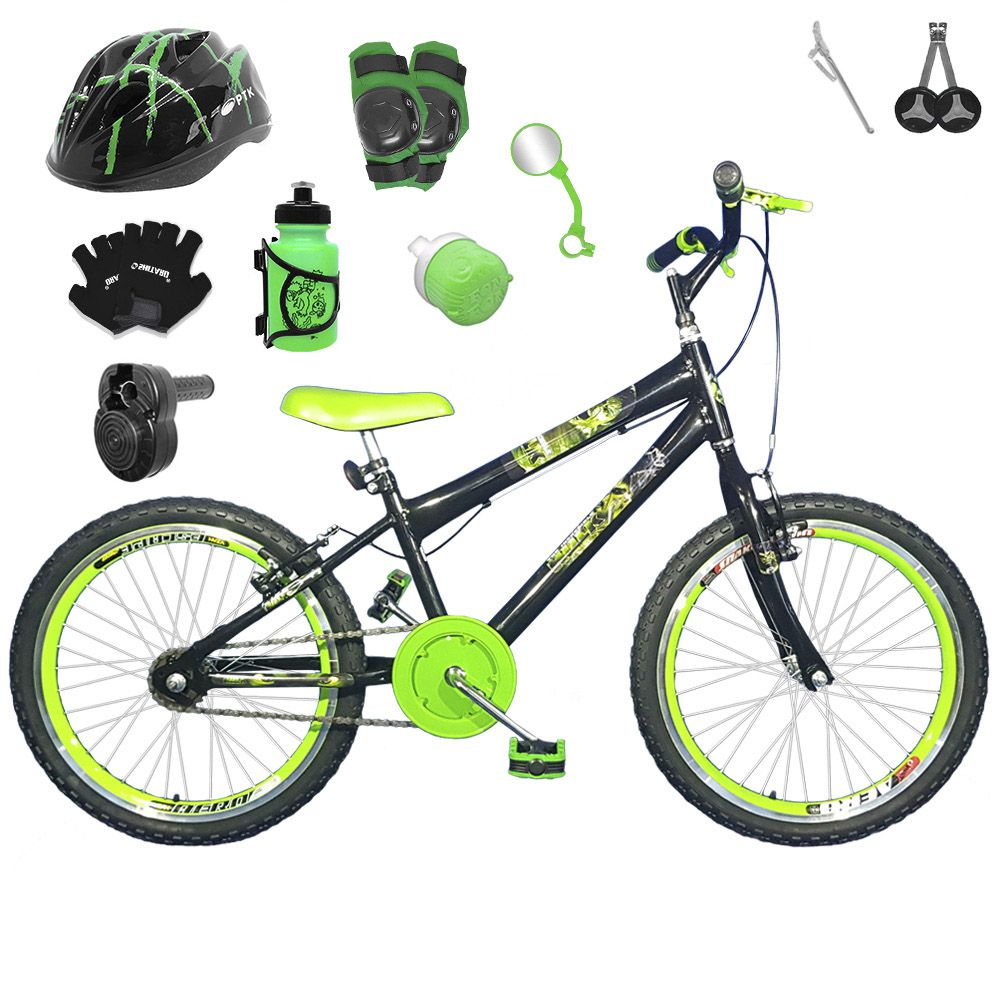 5aa83616c Bicicleta Infantil Aro 20 Preta Kit E Roda Aero Verde C  Capacete ...