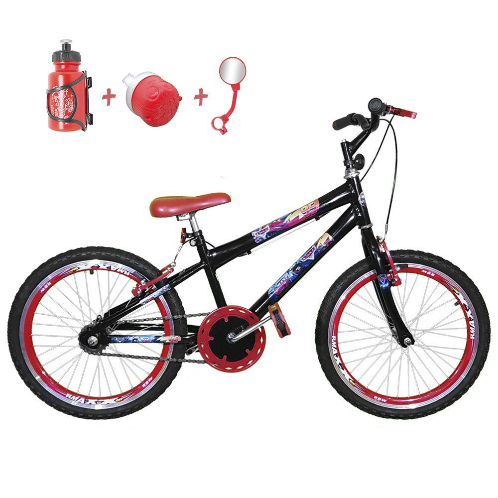 3e1621ba1 Bicicleta Infantil Aro 20 Preta Kit E Roda Aero Vermelho Com Acessórios