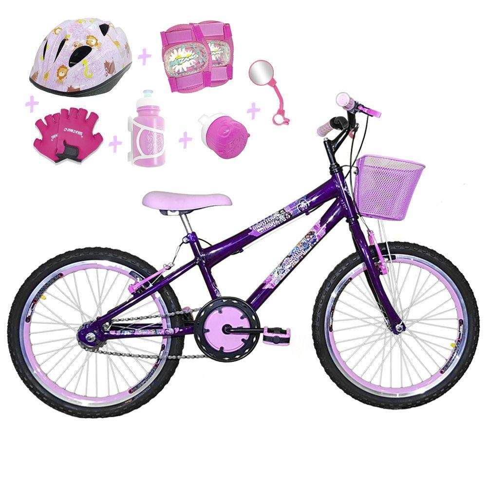 ed5e0a973 Bicicleta Infantil Aro 20 Roxa Kit E Roda Aero Rosa Bebê C  Capacete E Kit
