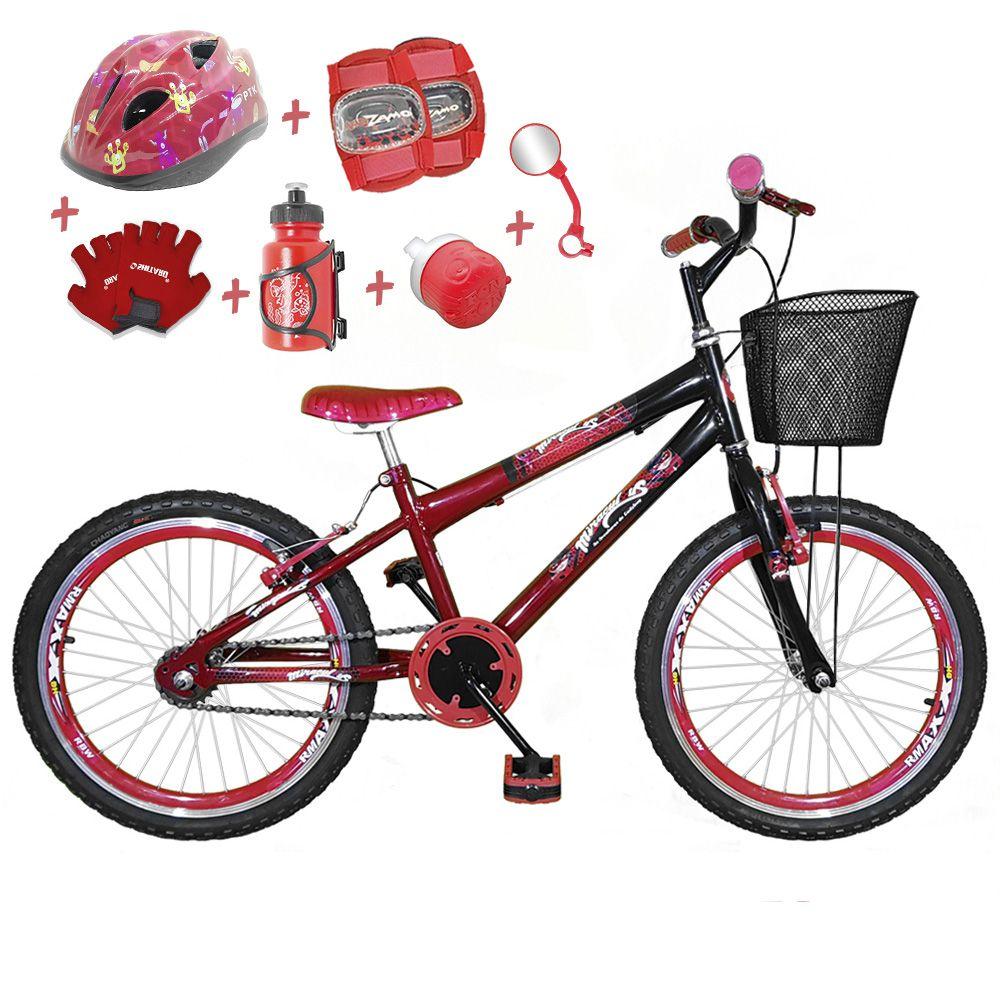 1336d7475 Bicicleta Infantil Aro 20 Vermelha Preta Kit E Roda Aero Vermelha C   Capacete E Kit