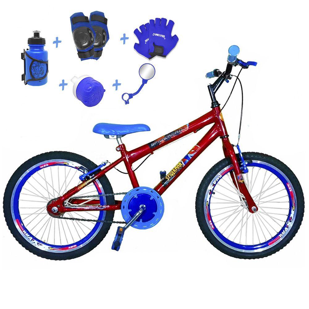 8a0255cfb Bicicleta Infantil Aro 20 Vermelha Kit E Roda Aero Azul C  Acessórios e Kit  Proteção