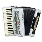Acordeon Cadenza CD-80/37 80 Baixos Branco Pérola com Case e Alça