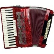 Acordeon Cadenza CD-80/37 80 Baixos vermelho  com Case e Alça
