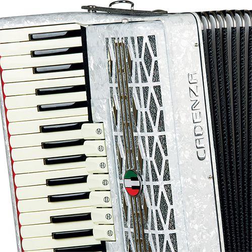 Acordeon Cadenza CD-120/41 120 Baixos Branco Pérola com Case e Alça