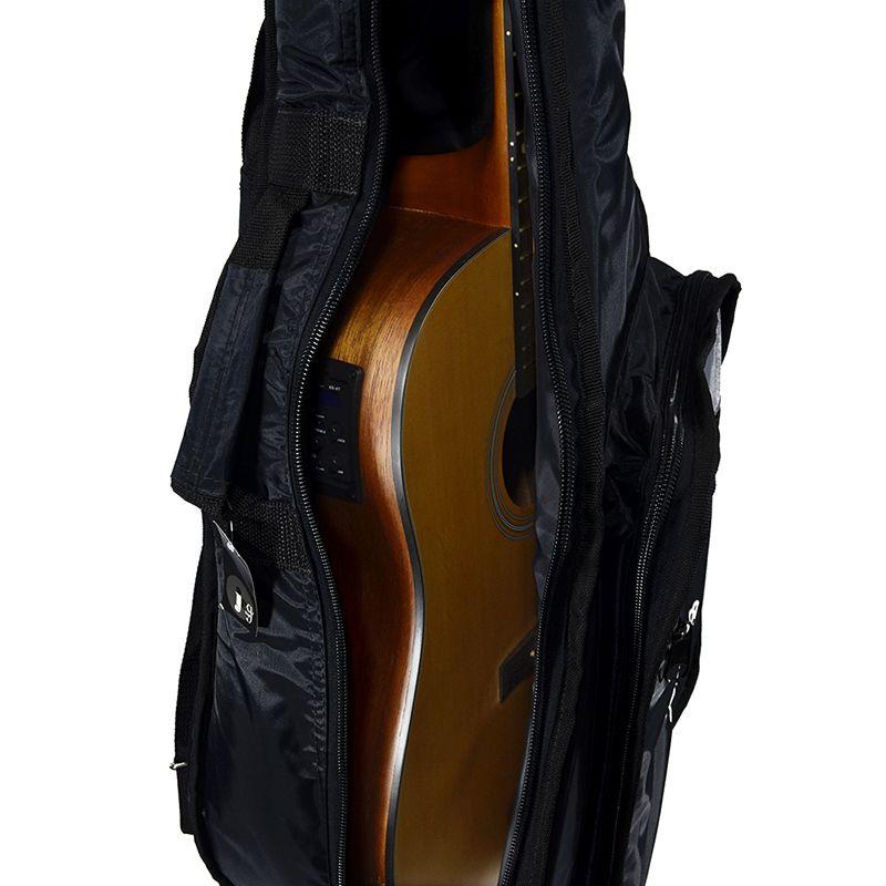 Capa para Violão Clássico Acolchoada Impermeável Premium c/ bolsos extras - Preta - Top Som Bags