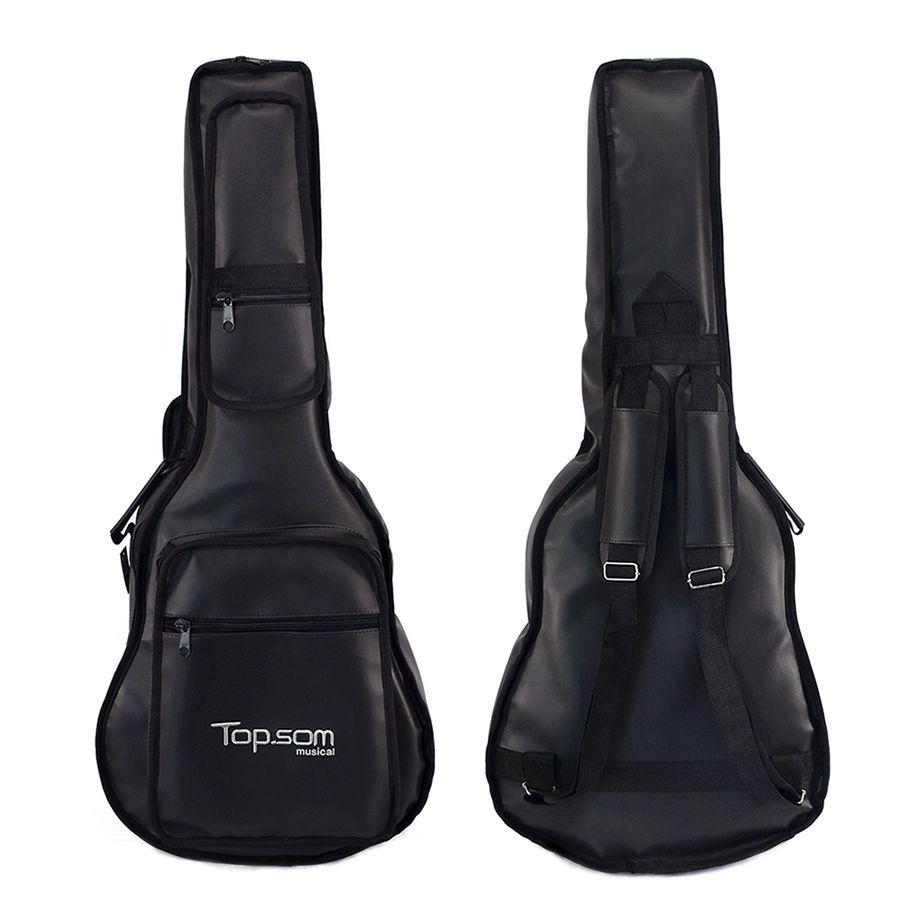 Capa para Violão Clássico de Couro Acolchoada Impermeável Premium c/ bolsos extras – Top Som Bags
