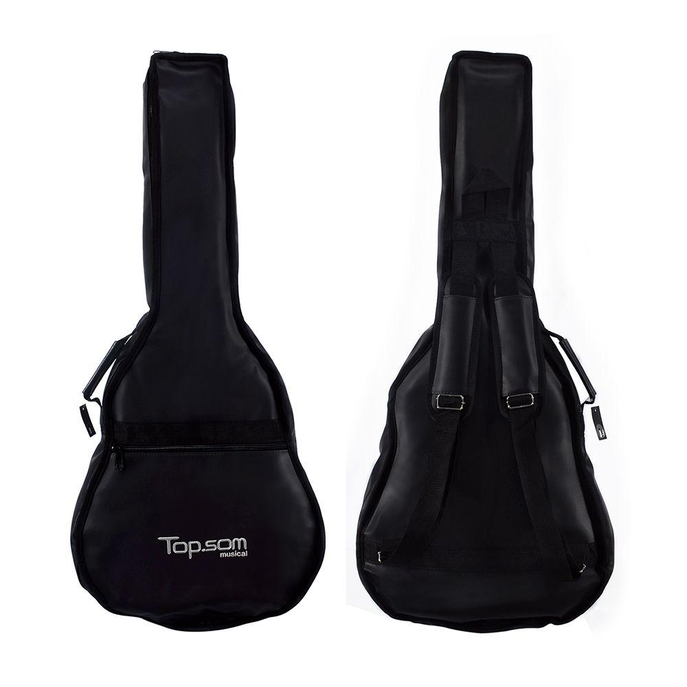 Capa para Violão Folk Acolchoada de Couro - Top Som Bags