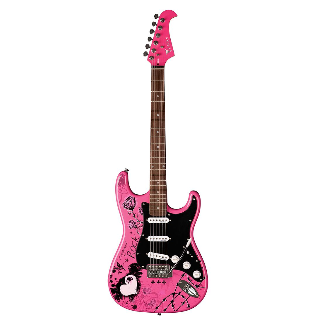 Guitarra Eagle Strato EGP10 CR Rosa Rock Desenhada