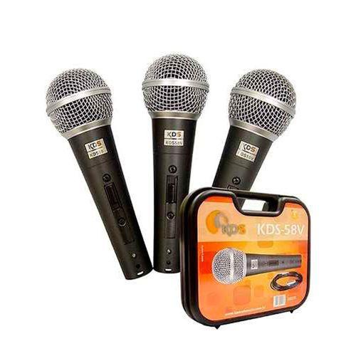 Kit de Microfones Kadosh 58V - 3 Microfones com maleta