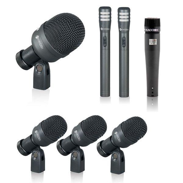 Kit de Microfones para Bateria Kadosh 7 peças K-7 Slim - com case