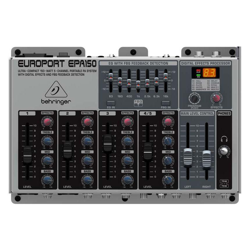 Kit Portátil Amplificador Behringer Europot EPA150 – Sistema PA com Mesa, 2 Caixas, Microfone e Cabos
