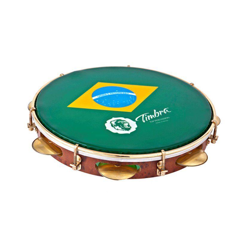 Pandeiro Timbra 10'' Formica Aro Dourado Bandeira do Brasil