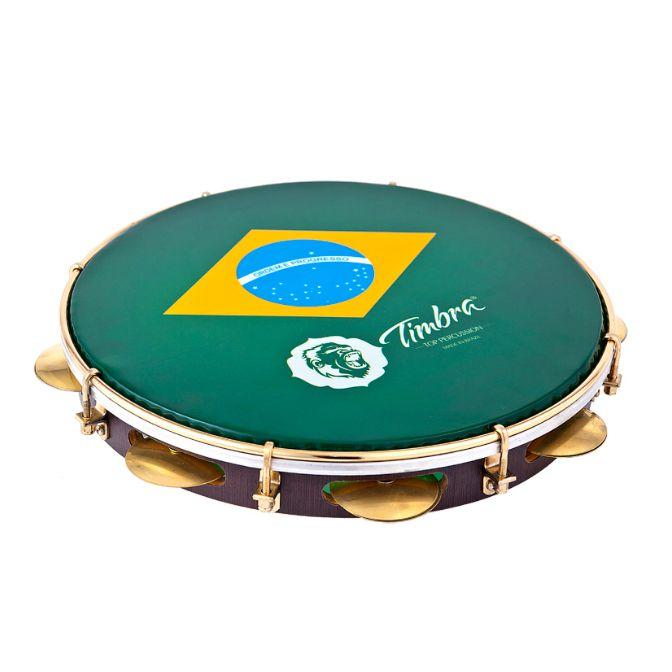 Pandeiro Timbra 12'' Formica Aro Dourado Bandeira do Brasil