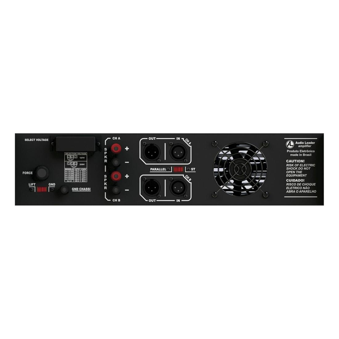 Potência amplificador Áudio Leader AL S- 1500 4 OHMS