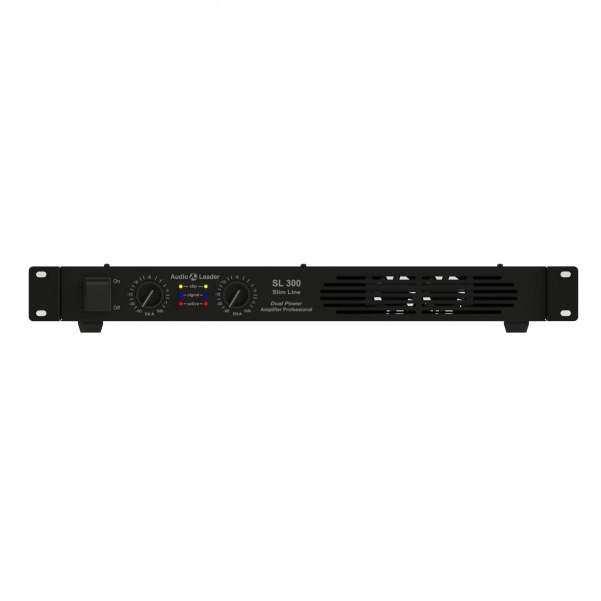 Potência amplificador Áudio Leader Slim SL300 300Wrms