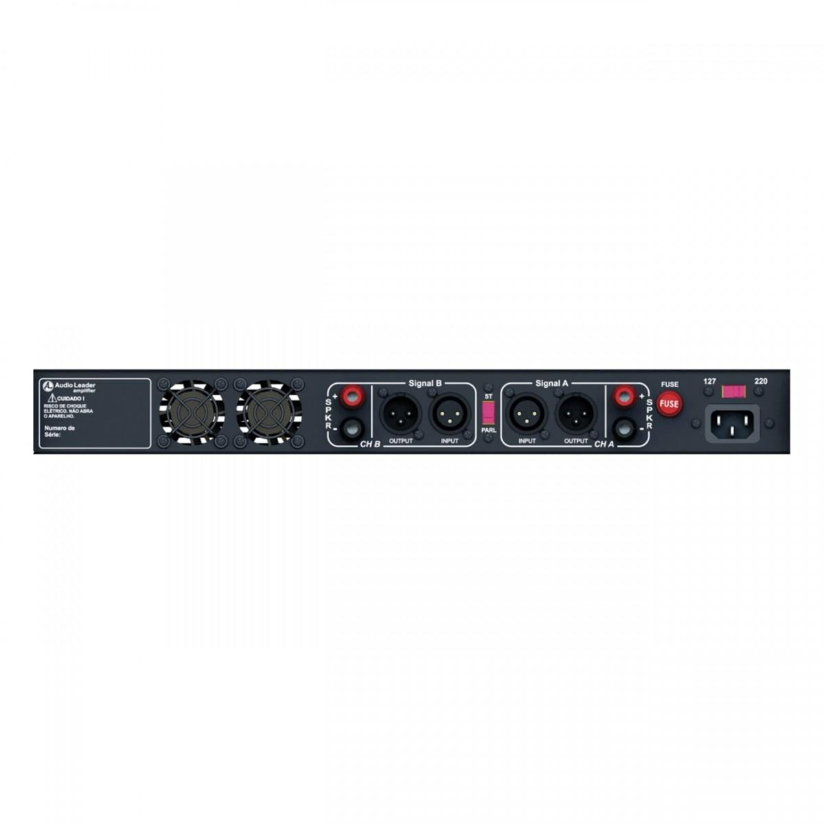 Potência amplificador Áudio Leader Slim SL 600 600Wrms