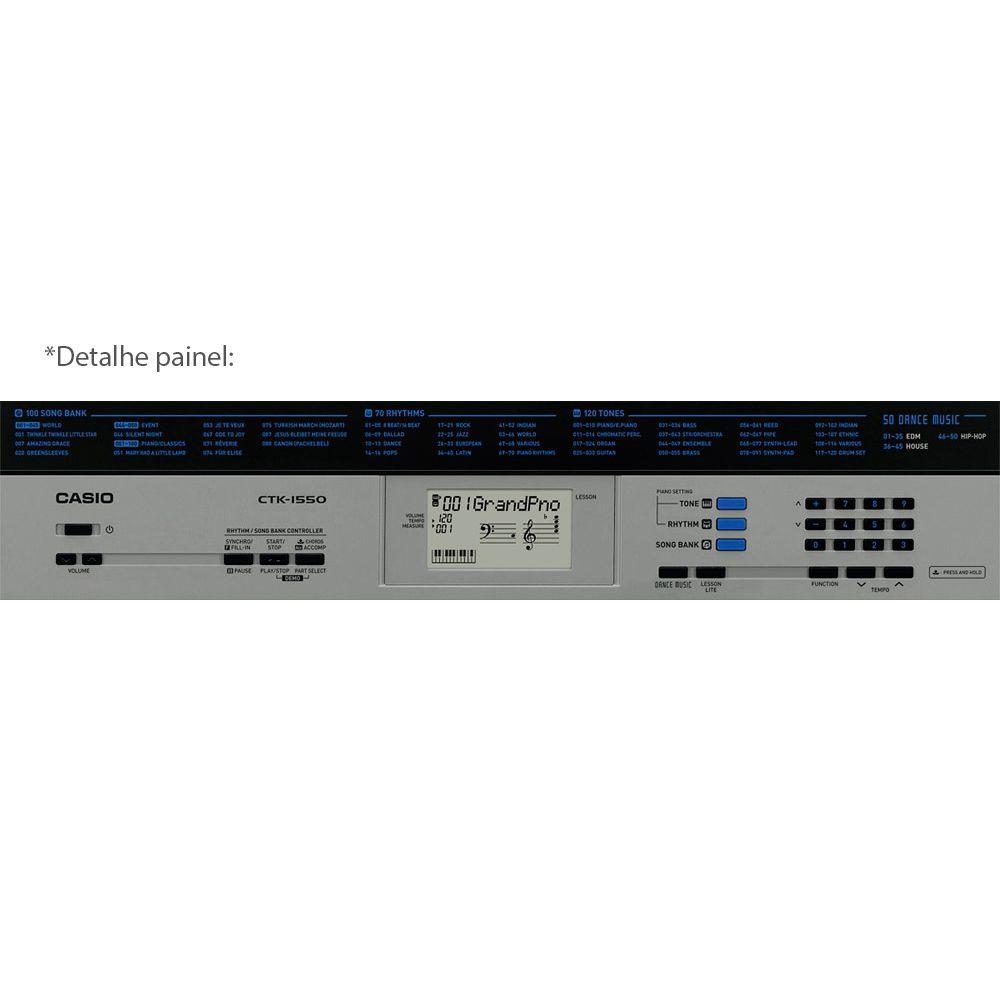 Teclado Digital Arranjador Casio CTK 1550 K2 61 Teclas Com Fonte Bivolt e Suporte de Partitura
