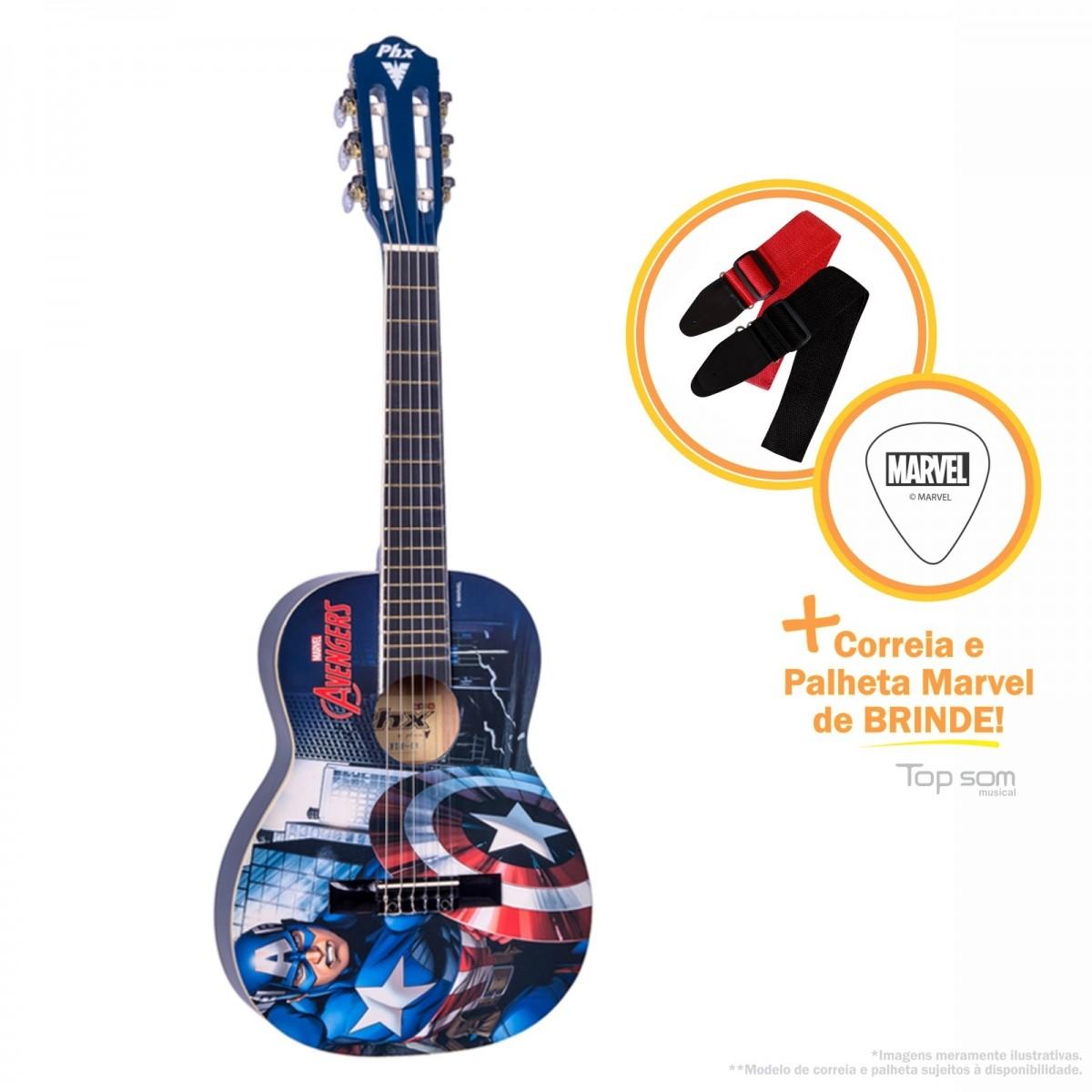 Violão Phoenix Acústico Nylon Infantil Marvel- Capitão América