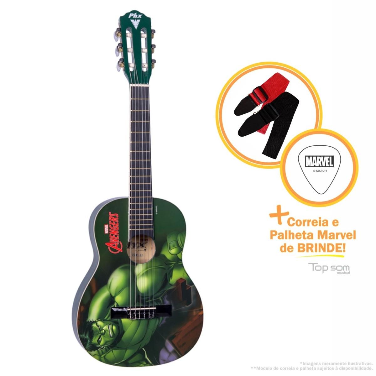 Violão Phoenix Acústico Nylon Infantil Marvel- Hulk
