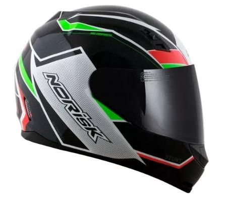 Capacete Norisk FF391 Storm Verde/vermelho/preto 60