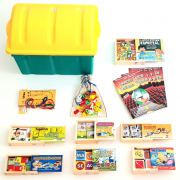 Baú de Alfabetização com 10 jogos em madeira - baú plástico + 1 coleção tecendo textos