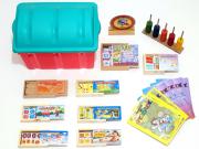 Baú de Matemática com 10 em jogos madeira - bau plástico + 1 coleção projeto de verdade