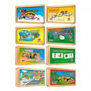 Dominós pedagógicos, Kit c/ 8 jogos em madeira