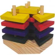 Torre de Formas - Madeira - 16 peças