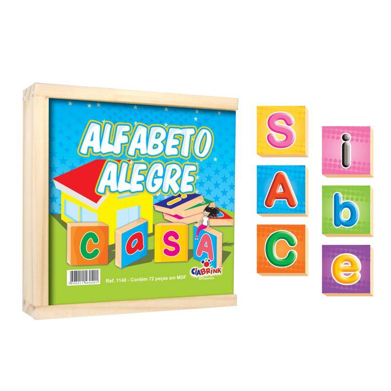 Alfabeto Alegre - madeira - 72 Peças