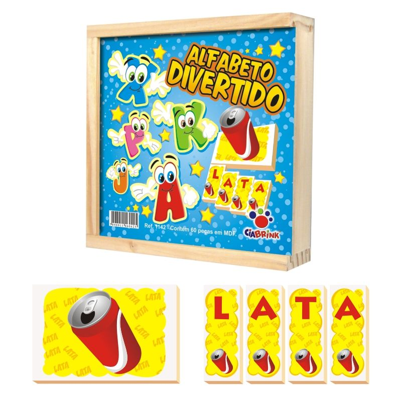 Alfabeto Divertido - madeira - 60 Peças