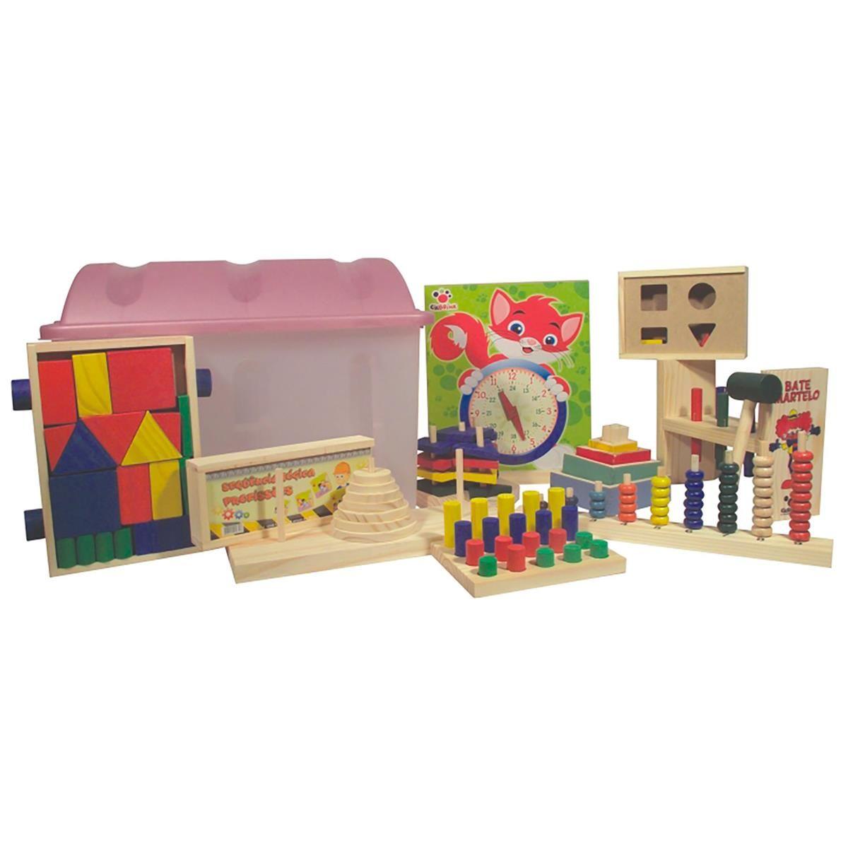 Baú Pedagógico com 10 jogos em madeira - bau plástico