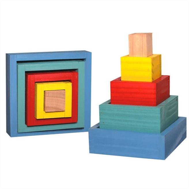 Caixas de Encaixe - Madeira - 05 peças