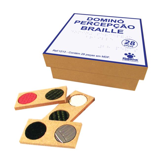 Dominó Percepção Braille - 28 peças - Madeira