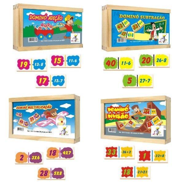 Dominós 4 operações ( kit com 4 jogos)