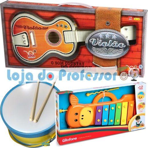 kit Musicalização - 1 Violão - 1 Gilofone - 1 Tambor