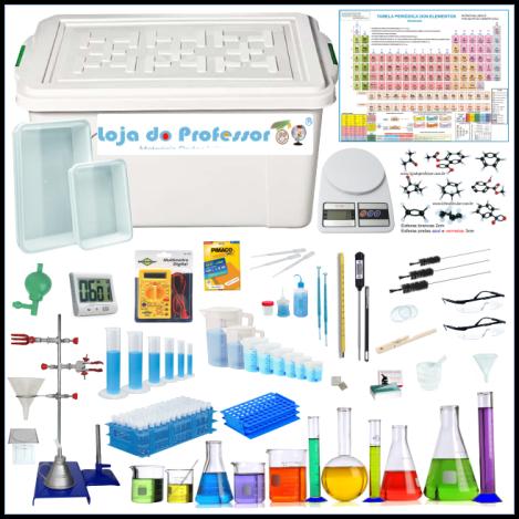 """Laboratório Portátil de Química """" 75 itens total 300 peças"""""""
