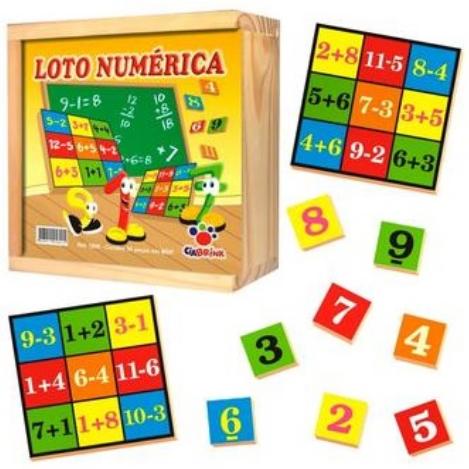 Loto Numérica - 130 Peças em madeira