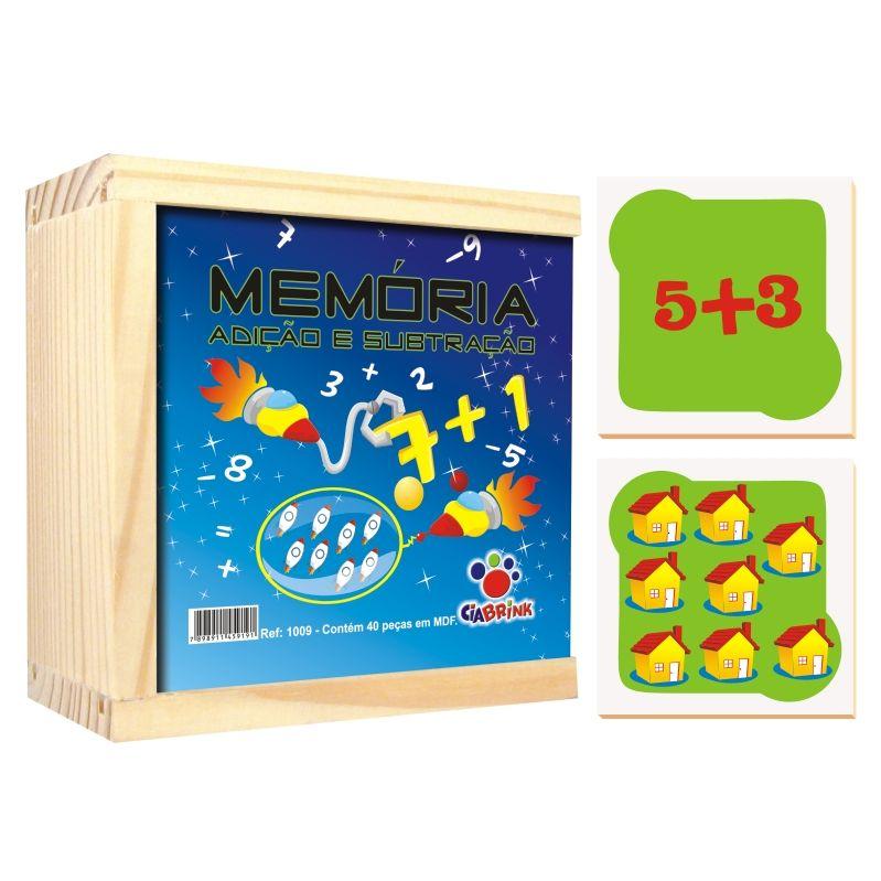 Jogo da Memória Adição e Subtração - madeira