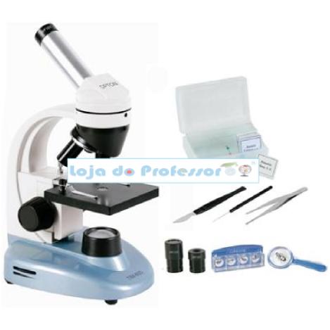 Microscópio Biol. Monocular 40- 640x, c/ 06 lâminas preparadas e Kit p/preparar lâminas, com iluminação a LED