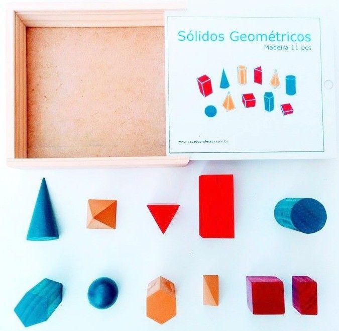 Sólidos geométricos em madeira 11 peças