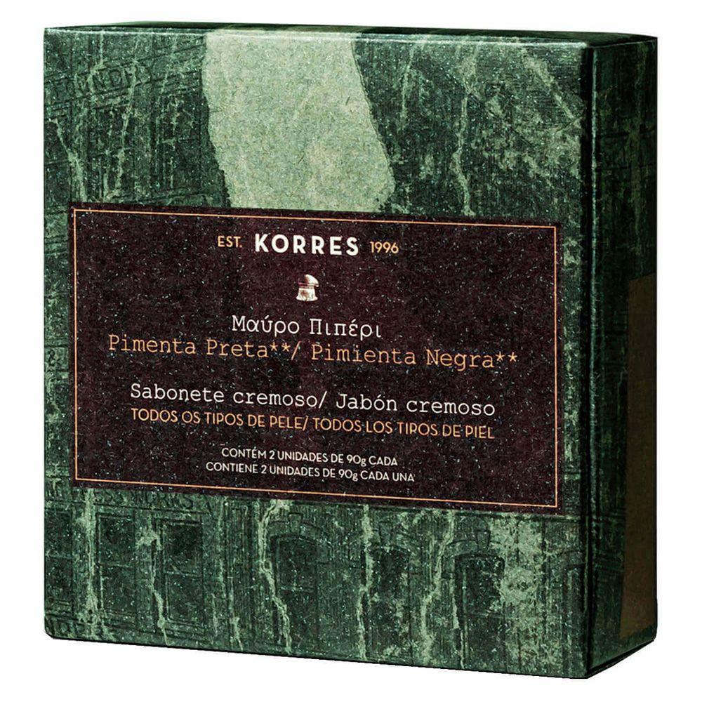 Kit Sabonete em Barra Cremoso Pimenta Preta 2x90g - Korres