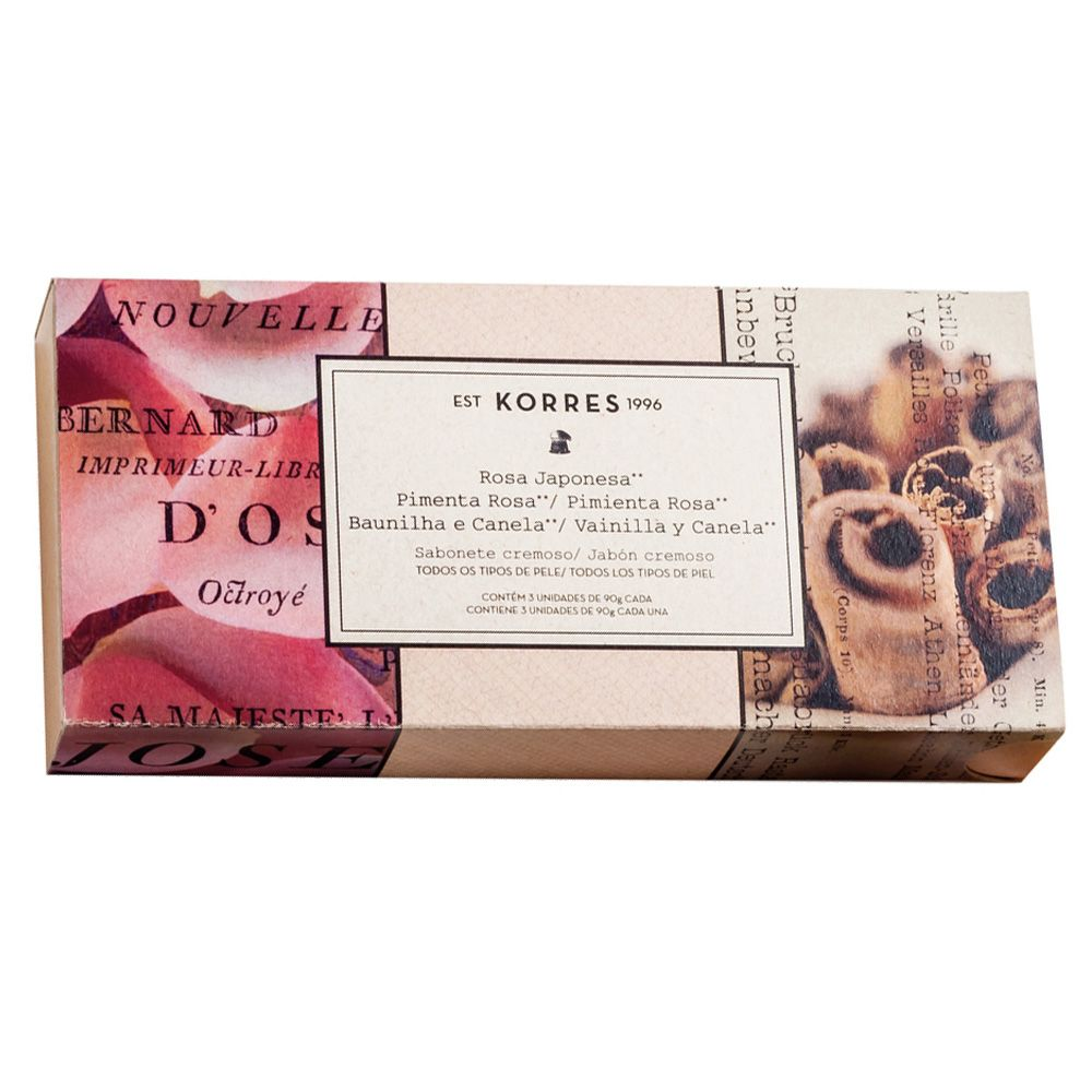 Kit Sabonete em Barra Cremoso Rosa Japonesa | Pimenta Rosa | Baunilha e Canela 3x90g - Korres