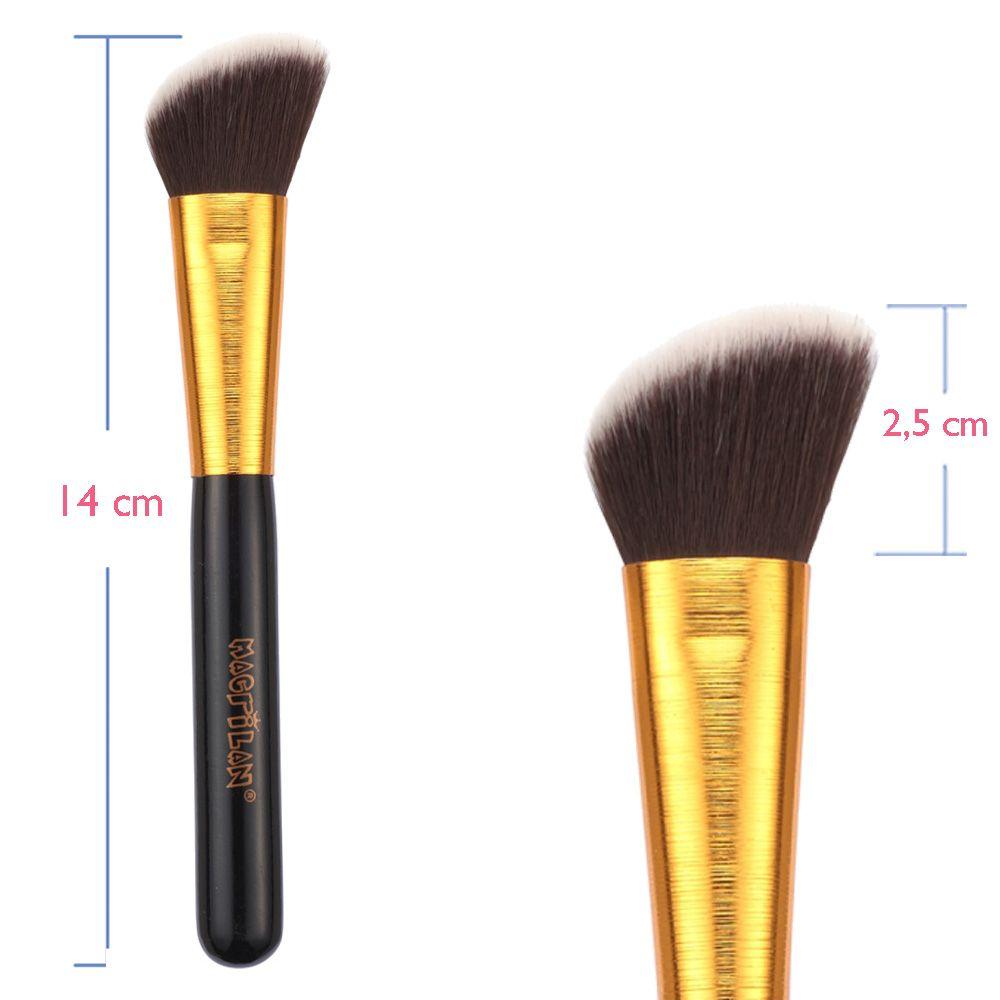 Pincel para Blush Kabuki Chanfrado G117 Linha Gold - Macrilan