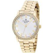 8416bf67d35 Relógio Feminino Champion Dourado CN25798H Com Detalhes Brilhantes