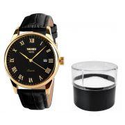 8b9aab7ebe7 Relógio Feminino Skmei de Luxo Pulseira Couro Modelo 9058