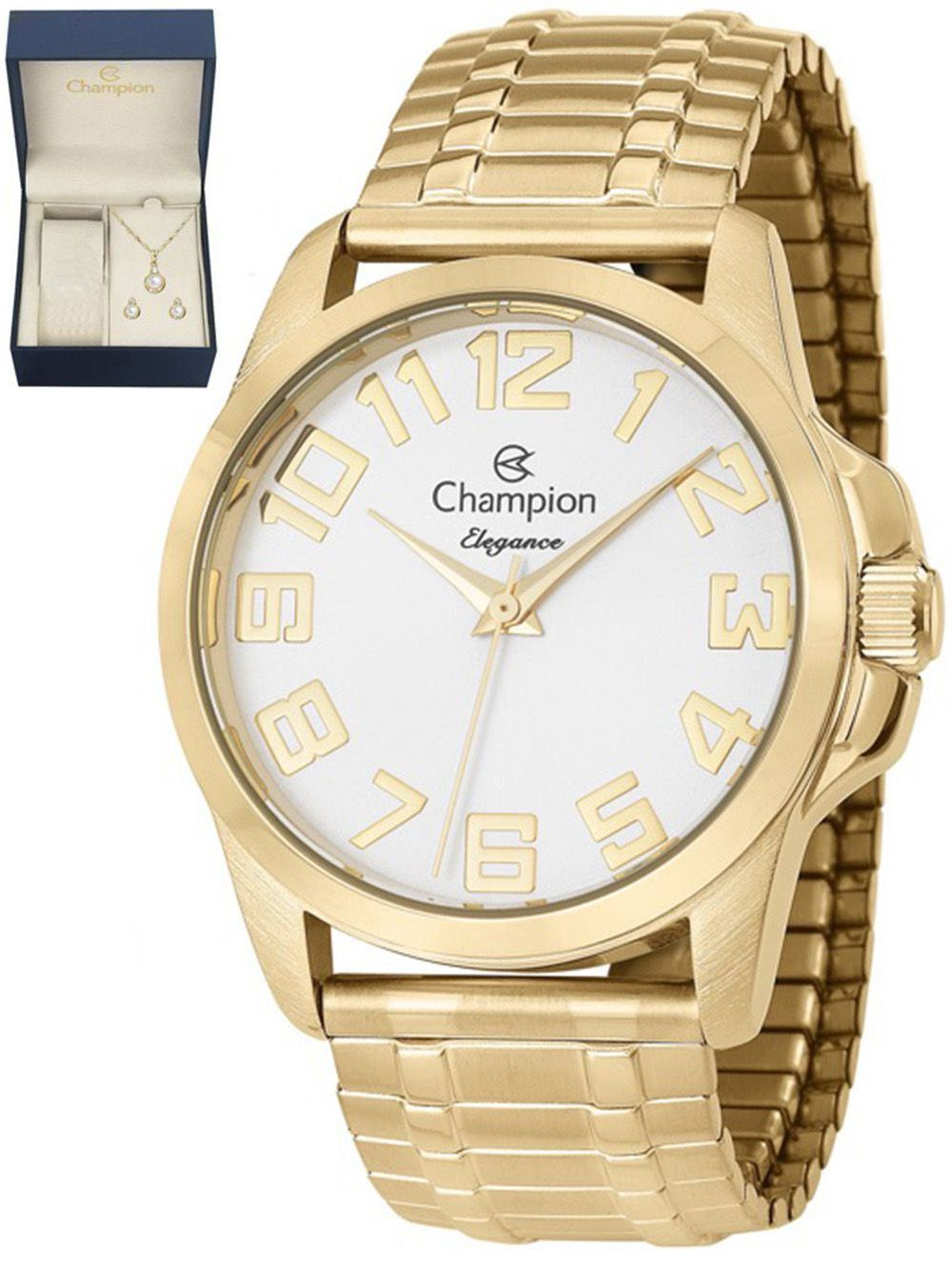 461424a7c2a Relógio Champion Analógico Feminino Dourado CN26340W + Kit Semijoias -  Miranda Shopping ...