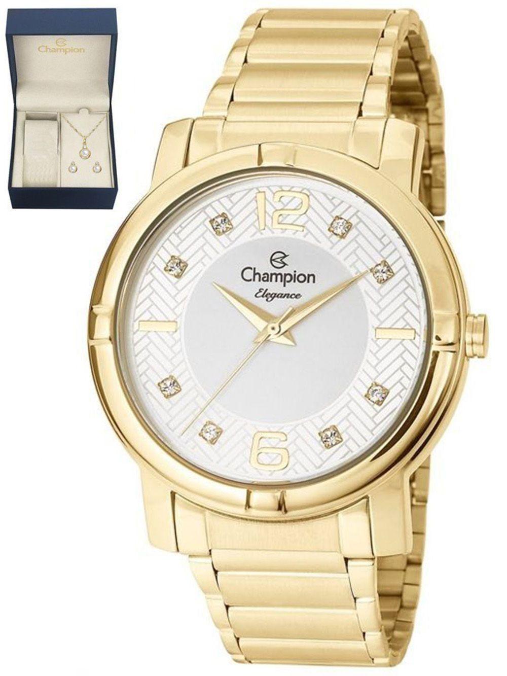6e325c67ad1 Relógio Champion Dourado Feminino CN25252W + Kit Semijoias - Miranda  Shopping ...