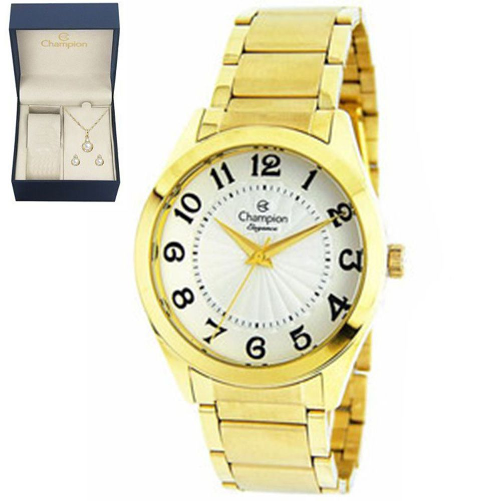 dc04b744f53 Relógio Champion Feminino Elegance Dourado CN25029W + Kit SemiJoias