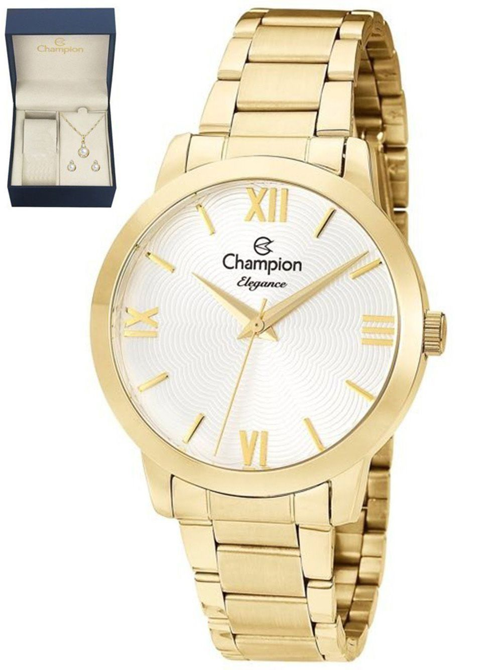 2619128eb43 Relógio Champion Feminino Elegance Dourado CN25403W + Kit Semijoias -  Miranda Shopping ...
