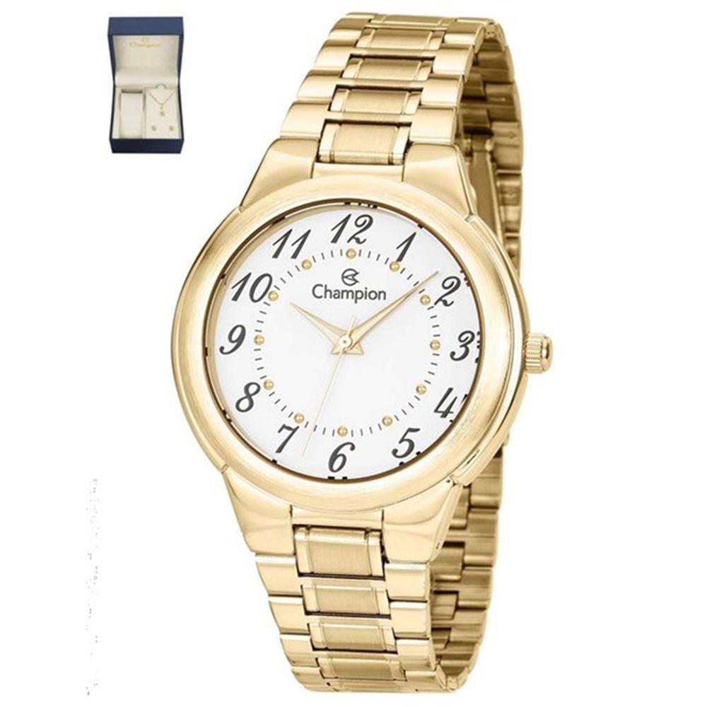 548dfd4e86e Relógio Feminino Champion Dourado CH22368W + Kit Semijoias - Miranda  Shopping ...
